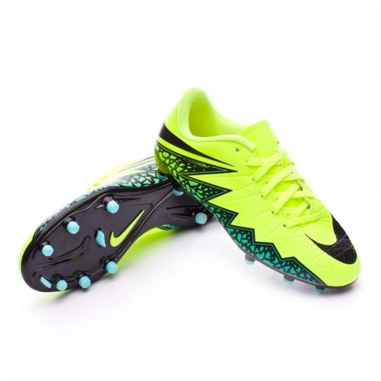 Chuteira  Nike jr HyperVenom Phelon II FG Volt-Black-Hyper turquoise-Clear jade