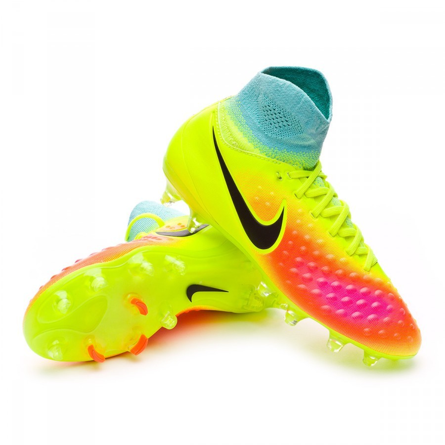 691d5f8af6d9 Football Boots Nike Jr Magista Obra II FG Volt-Black-Total orange ...