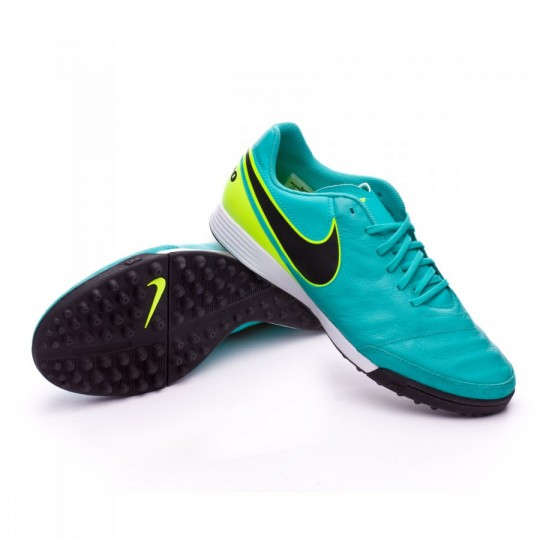 Chuteira  Nike Tiempo Genio Leather II TF Clear jade-Black-Volt