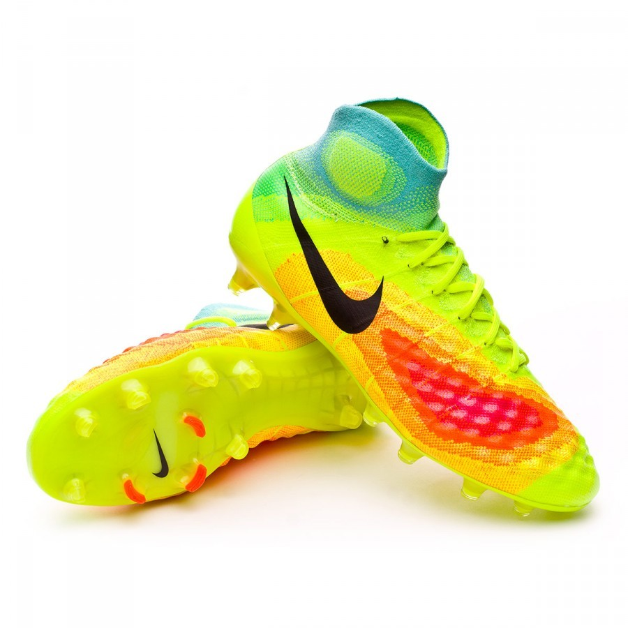 Boot Nike Magista Obra II ACC FG Volt-Black-Total orange-Pink blast -  Football store Fútbol Emotion