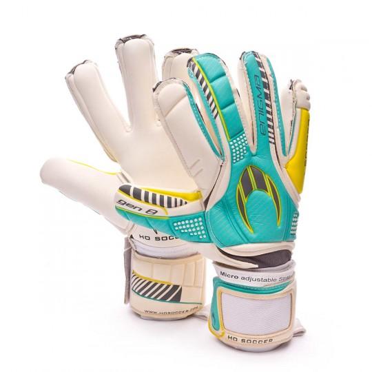 Guante  HO Soccer Enigma gen8 White-Cyan-Yellow