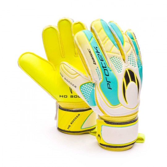 Guante  HO Soccer Basic Protek Lime White-Yellow-Cyan