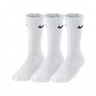 Meias  Nike Value Cotton Crew Training Sock (3 Pares) White-Black