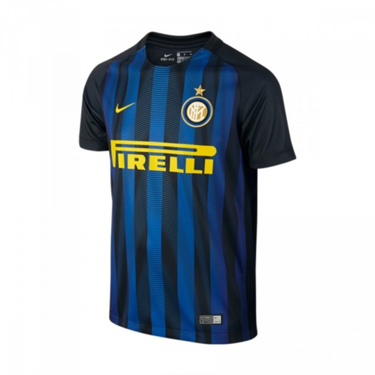Camiseta  Nike Inter Milan Stadium Home 2016-2017 Black-Royal blue-Optical yellow
