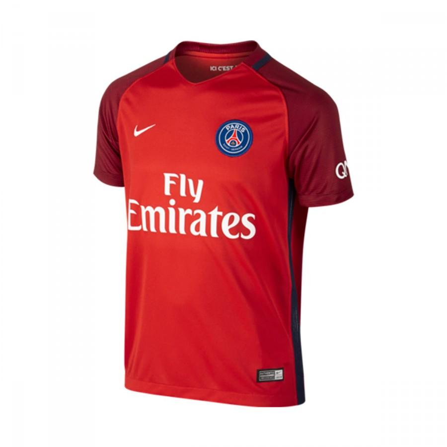 a5cfa2b5783fa Jersey Nike Jr Paris Saint-Germain Stadium Top Away 2016-2017 Challenge  red-Team red-White - Football store Fútbol Emotion