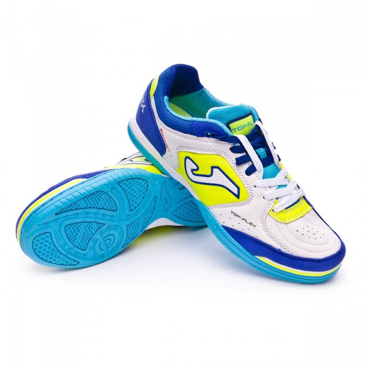 Futsal Boot Joma Top Flex White-Blue - Football store Fútbol Emotion 72034515f7eff