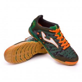 Zapatilla de fútbol sala  Joma Super Regate Verde Camuflaje-Naranja