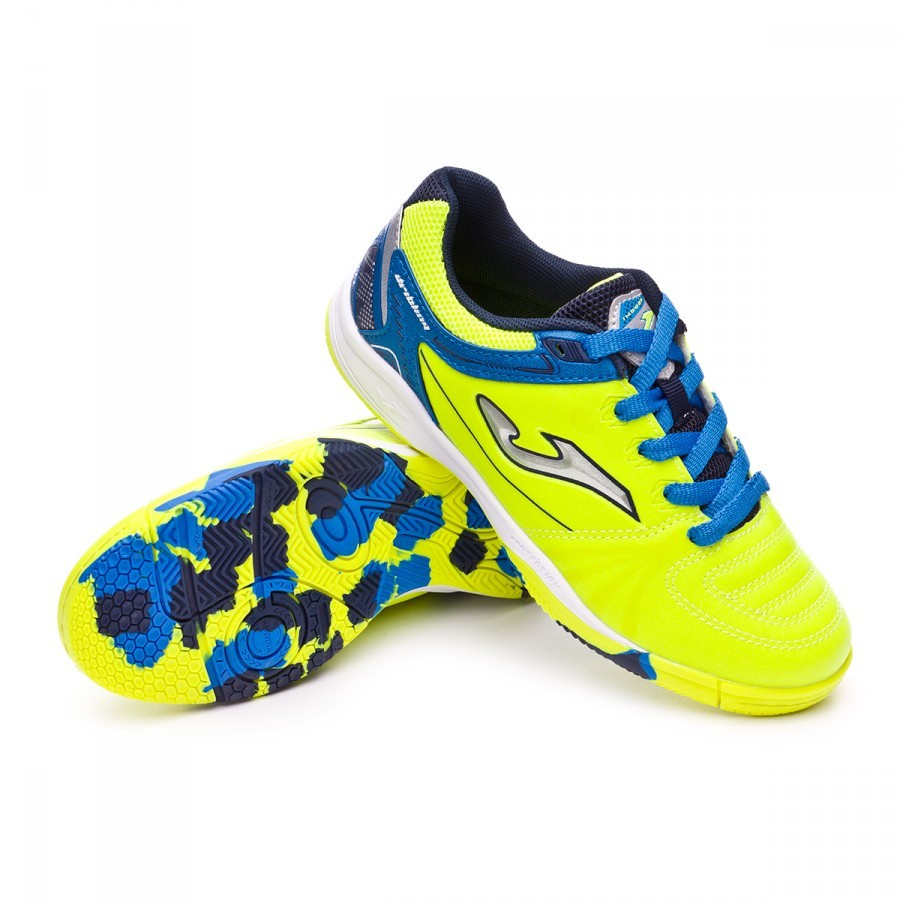 Sapatilha de Futsal Joma Jr Dribling Amarelo-Azul - Loja de futebol Fútbol  Emotion bc060aed800a8