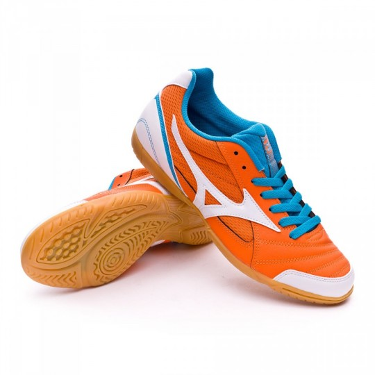 Sapatilha de Futsal  Mizuno Club 2 IN Vibrant orange-White-Atomic blue