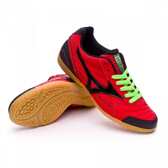 Chaussure de futsal  Mizuno Club 2 IN High risk red-Black-Green gecko