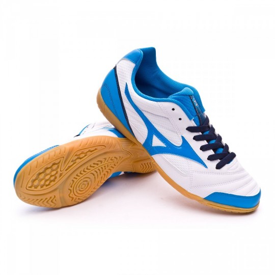 Sapatilha de Futsal  Mizuno Club 2 IN White-Diva blue-Dress blues
