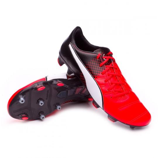 Chuteira  Puma EvoPower 1.3 Leather FG Red blast-White-Black