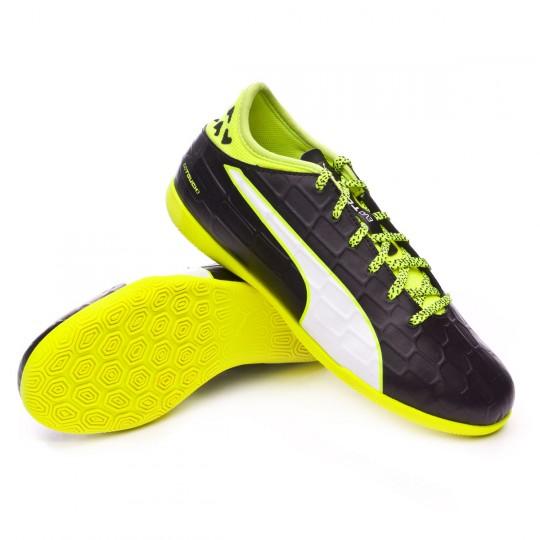 Sapatilha de Futsal  Puma Jr EvoTouch 3 IT Black-White-Safety yellow