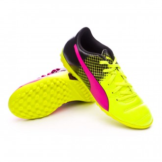 Zapatilla de fútbol sala  Puma jr evoPower 4.3 TT Tricks Pink glo-Safety yellow-Black