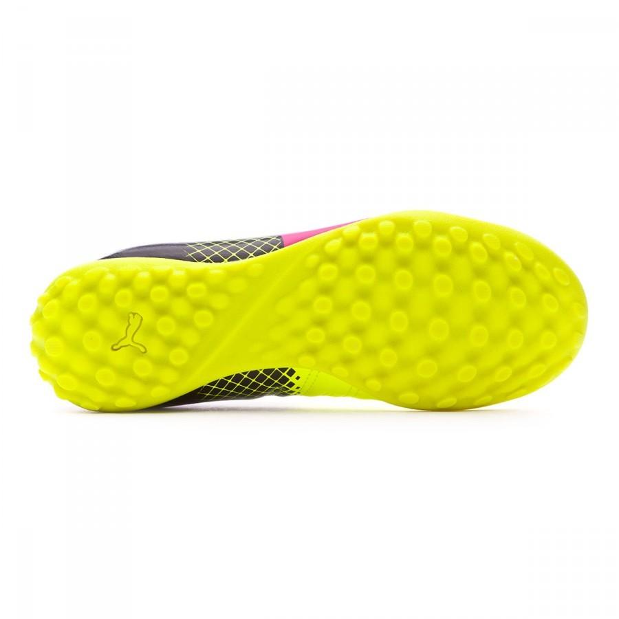 7a615259030 Futsal Boot Puma Jr evoPower 4.3 TT Tricks Pink glo-Safety yellow-Black -  Football store Fútbol Emotion