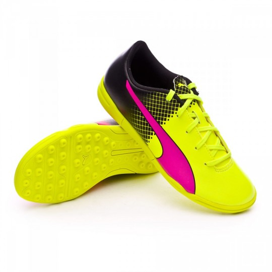 Zapatilla de fútbol sala  Puma jr evoSpeed 5.5 TT Tricks Pink glo-Safety yellow-Black