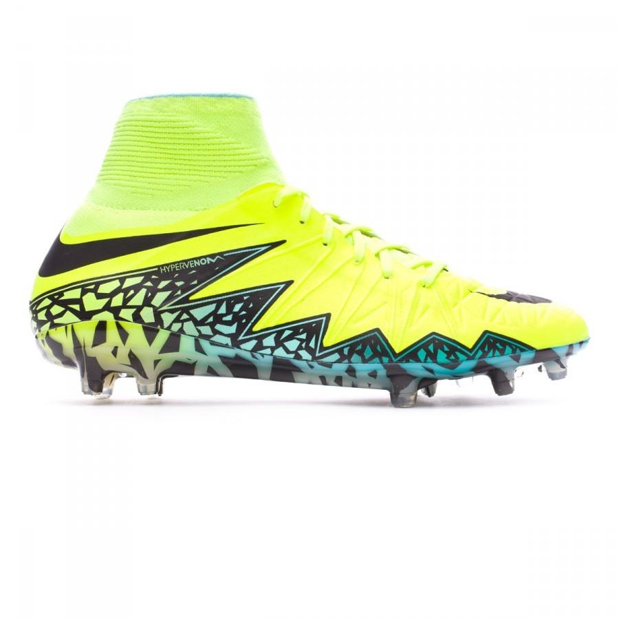 5aa96631af49 Football Boots Nike HyperVenom Phantom II ACC FG Volt-Black-Hyper turquoise-Clear  jade - Football store Fútbol Emotion
