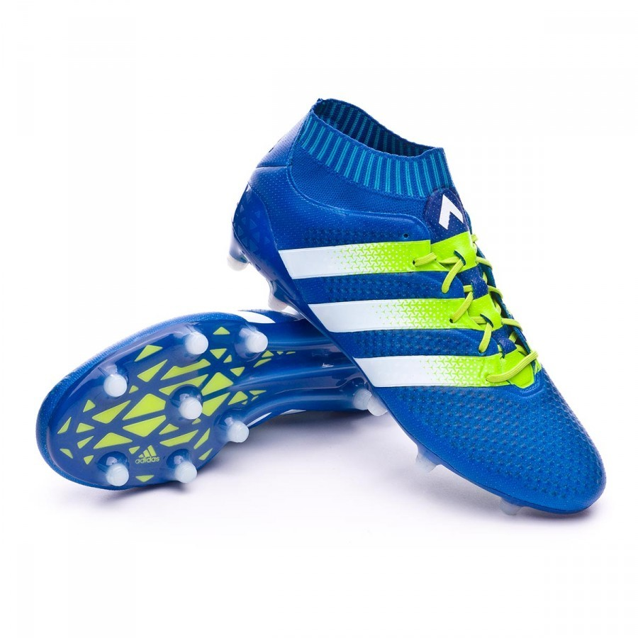 4215e185fec1 Boot adidas Ace 16.1 Primeknit FG AG Shock blue-Semi solar slime ...