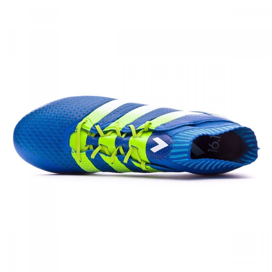 hot sale online 71717 99e44 Chaussure de foot adidas Ace 16.1 Primeknit FGAG Shock blue-Semi solar  slime-White - Boutique de football Fútbol Emotion
