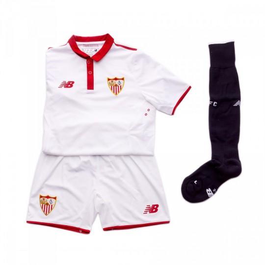 Conjunto  New Balance Sevilla FC Primera Equipación 2016-2017 Niño Blanco-Rojo