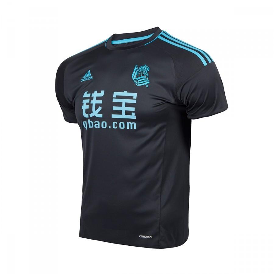 fa55a945ffb70 Camiseta adidas Real Sociedad Segunda Equipación 2016-2017 Dark Grey -  Tienda de fútbol Fútbol Emotion