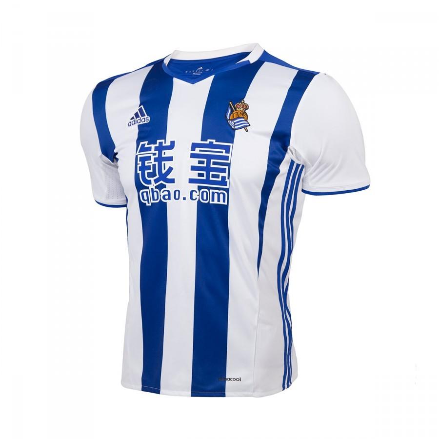 Camiseta adidas Real Sociedad Primera Equipación 2016-2017 White-Blue -  Tienda de Fútbol. Soloporteros es ahora Fútbol Emotion