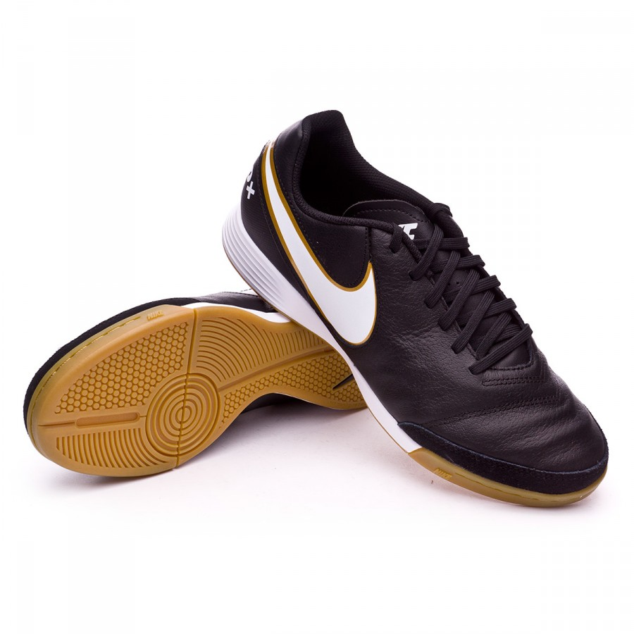 ... Zapatilla TiempoX Genio Leather II IC Black-White-Metallic gold.  CATEGORIA. Futsal 13bedc1e85860
