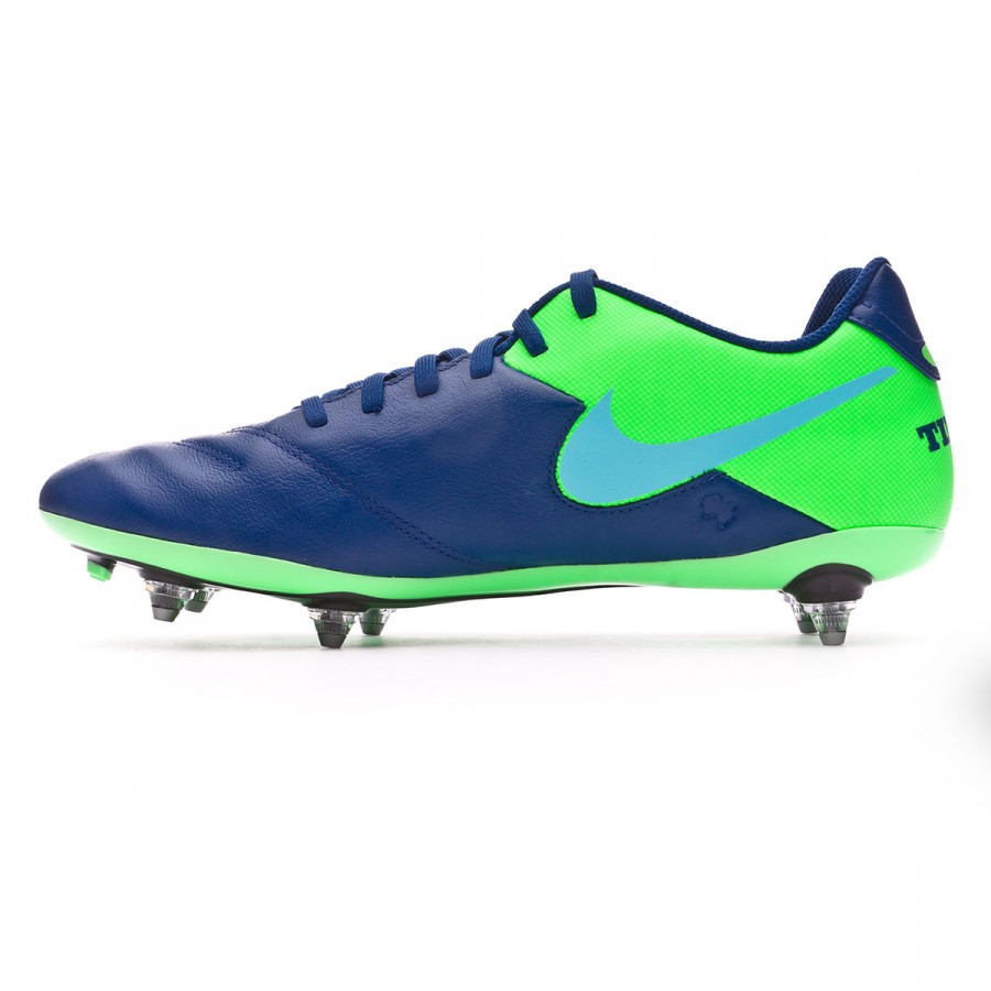 new concept 13bdd 78be1 Chaussure de foot Nike Tiempo Genio Leather II SG Coastal blue-Polarized  blue-Rage green - Boutique de football Fútbol Emotion