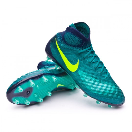 Chuteira  Nike Magista Obra II ACC AG-Pro Rio teal-Volt-Obsidian-Clear jade