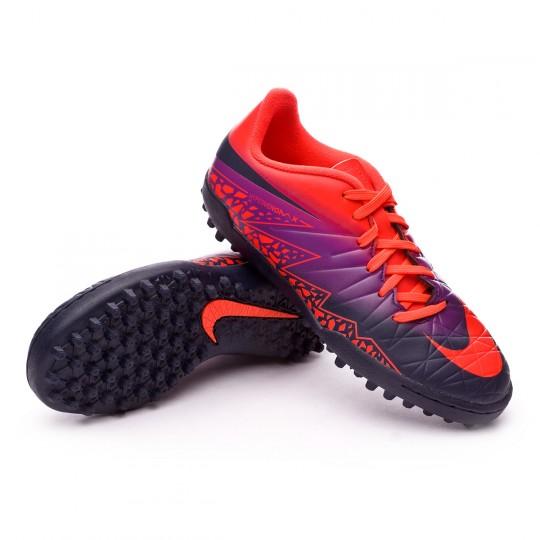 Zapatilla de fútbol sala  Nike jr HyperVenomX Phelon II Turf Total crimson-Obsidian-Vivid purple-Bright cr