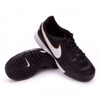 Football Boot  Nike Kids TiempoX Legend VI Turf  Black-White-Metallic gold