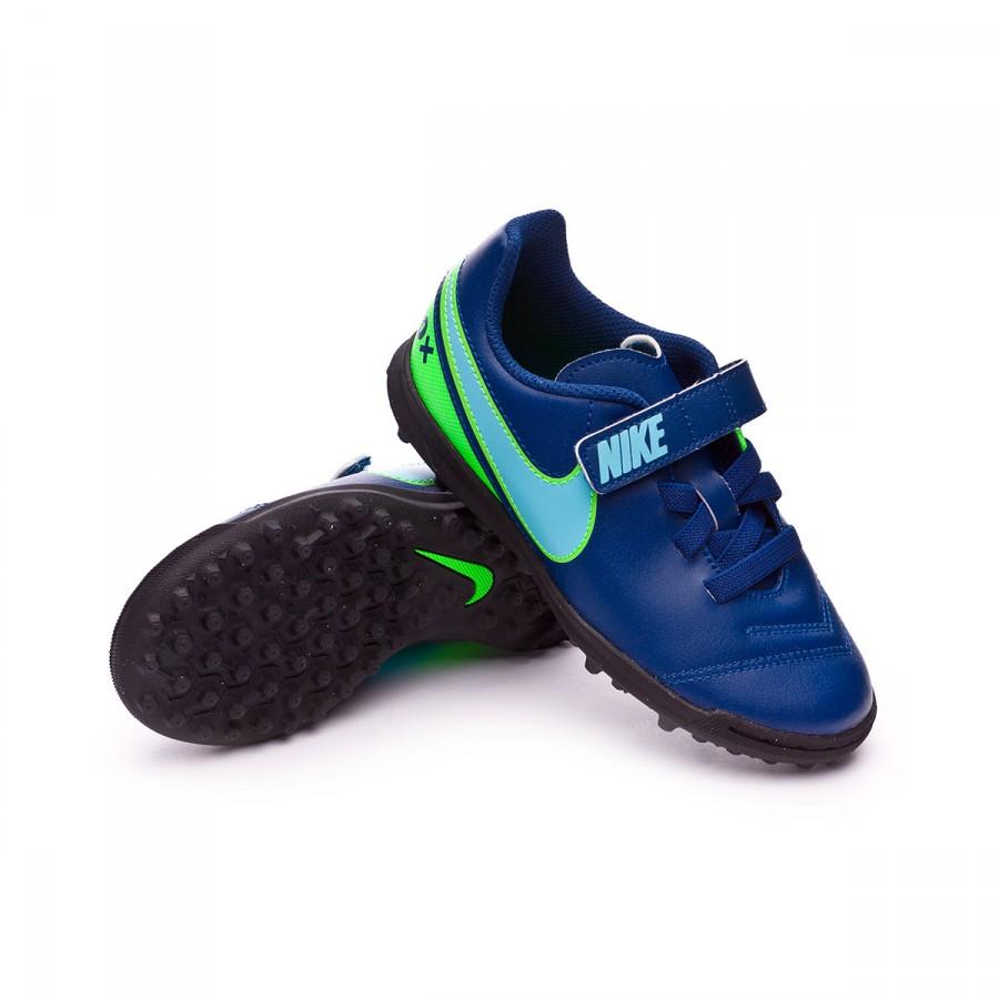 sale retailer f87a7 7fa77 Chaussure de football Nike Jr TiempoX Rio III VelcroTurf Coastal  blue-Polarized blue-Rage green - Boutique de football Fútbol Emotion