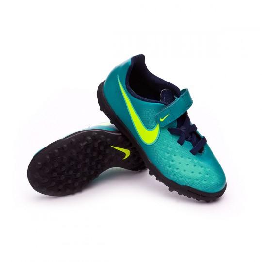 Zapatilla de fútbol sala  Nike jr MagistaX Ola II VelcroTurf Rio teal-Volt-Obsidian-Clear jade