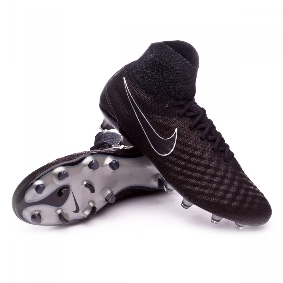 35f9650a1a87 Football Boots Nike Magista Obra II ACC TC FG Black-Metallic silver ...