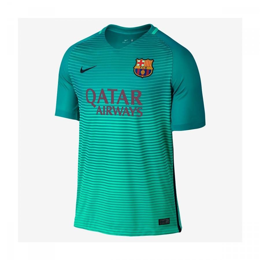 35c8066acd2a4 Jersey Nike Jr FC Barcelona 3a Stadium 2016-2017 Green glow-Energy ...