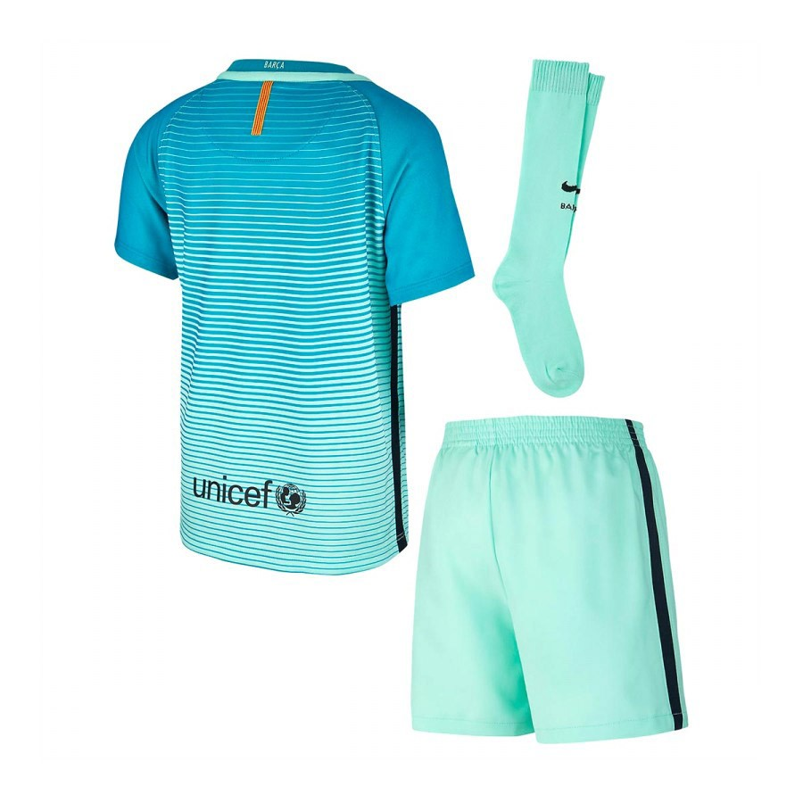 2caf34e0e3b Kit Nike Jr FC Barcelona 3a Bebe 2016-2017 Green glow-Energy glow ...