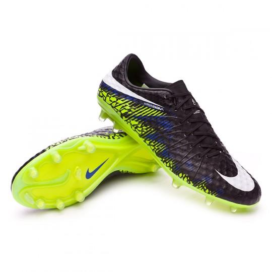 Bota  Nike HyperVenom Phinish FG Black-White-Volt-Paramount blue