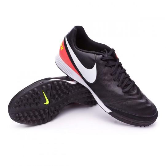 Zapatilla de fútbol sala  Nike TiempoX Genio Leather II Turf Black-White-Hyper orange-Volt