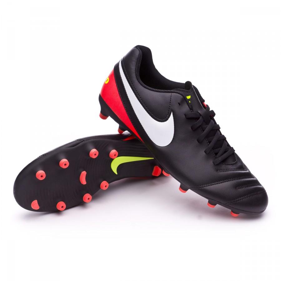 26c8b4e77156 Football Boots Nike Tiempo Rio III FG Black-White-Hyper orange-Volt ...