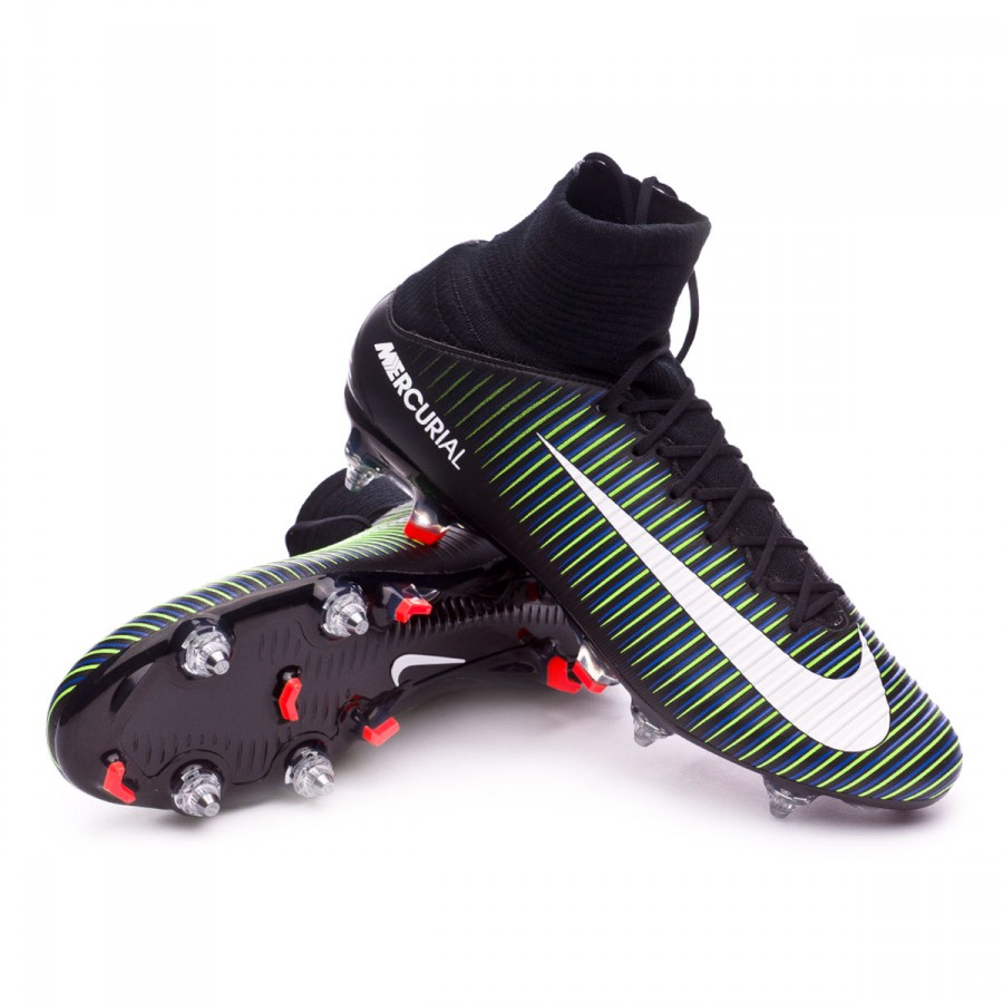 5aa9f17a48e Nike Mercurial Veloce III DF SG-Pro Football Boots. Black-White-Electric  green ...