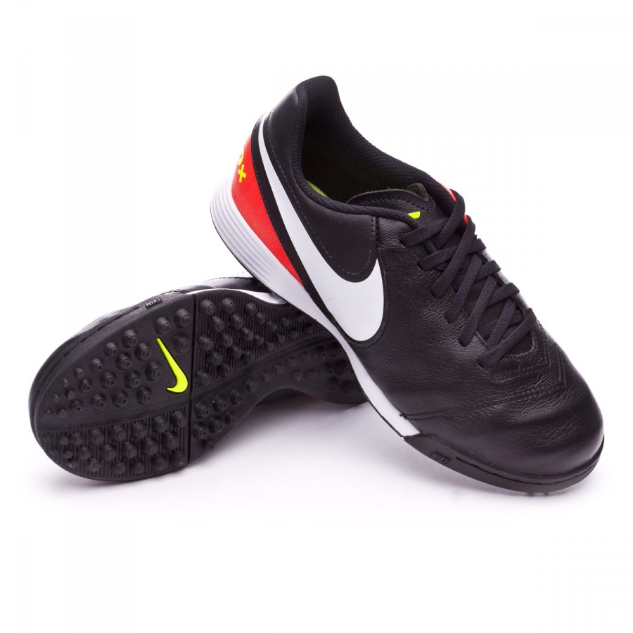 Zapatilla Nike TiempoX Legend VI Turf Niño Black-White-Hyper orange ...