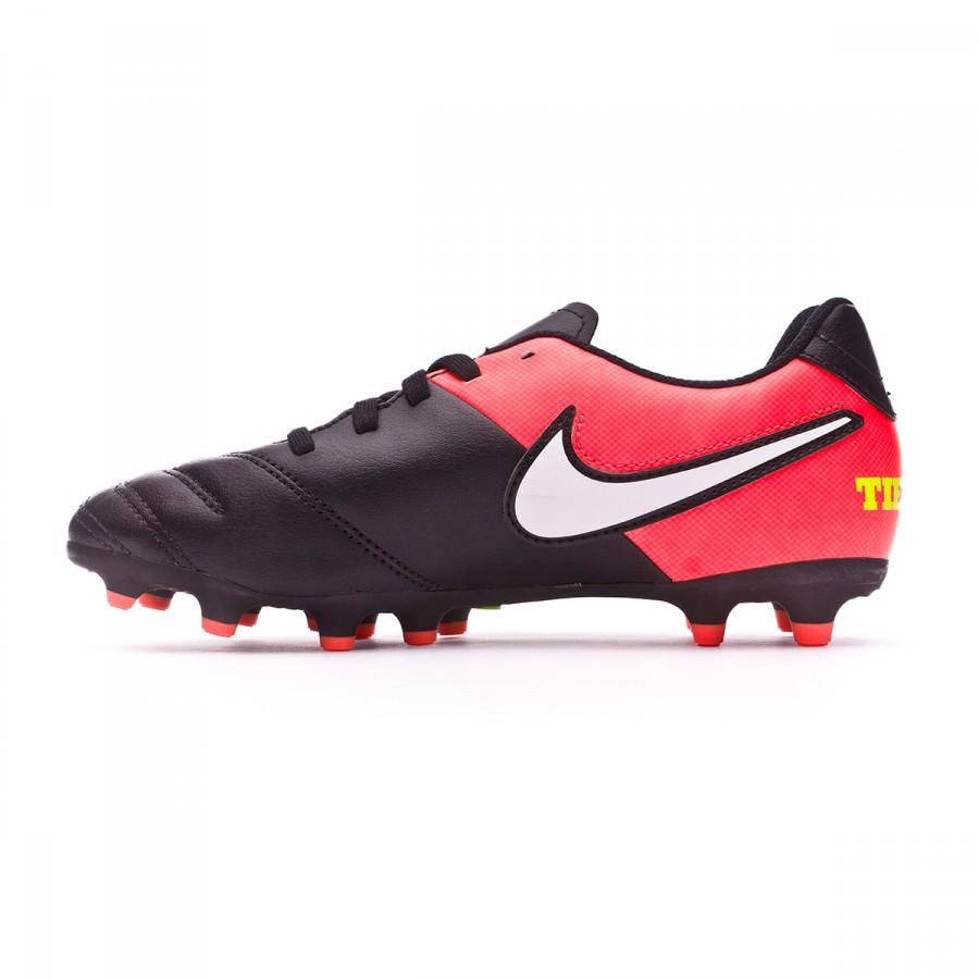 4149de979651a Bota de fútbol Nike Tiempo Rio III FG Niño Black-White-Hyper orange-Volt -  Tienda de fútbol Fútbol Emotion