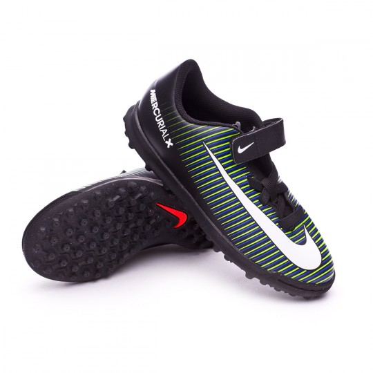Zapatilla de fútbol sala  Nike jr MercurialX Vortex III VelcroTurf Black-White-Electric green