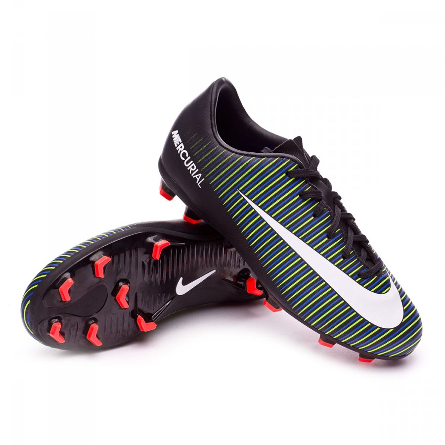 1e982c2f4 Nike Jr Mercurial Vapor XI FG Football Boots. Black-White-Electric green ...