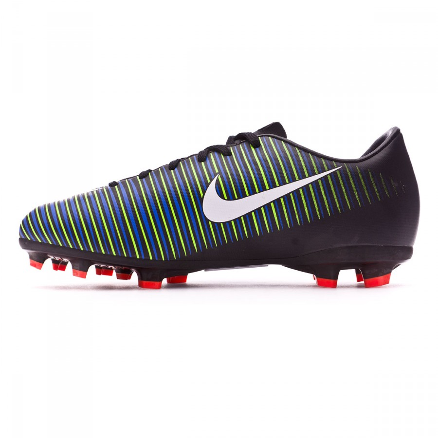 fcc5a755d6b8 Football Boots Nike Jr Mercurial Vapor XI FG Black-White-Electric green -  Football store Fútbol Emotion