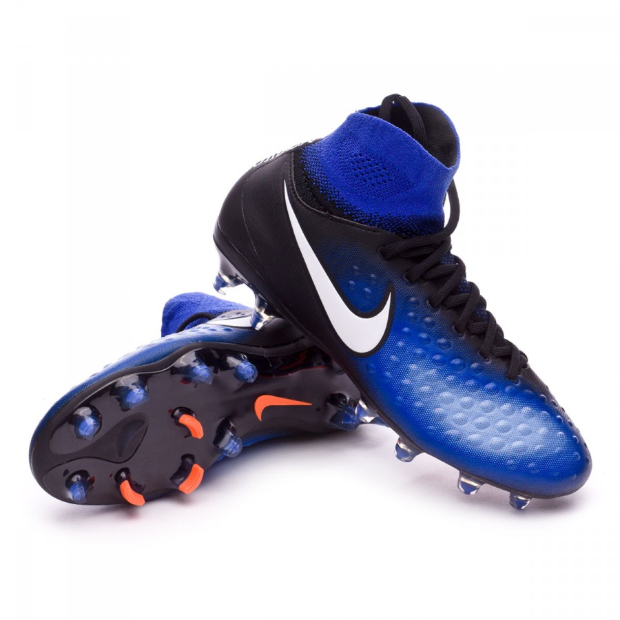f42c43fa68eb Football Boots Nike Jr Magista Obra II FG Black-White-Paramount blue ...