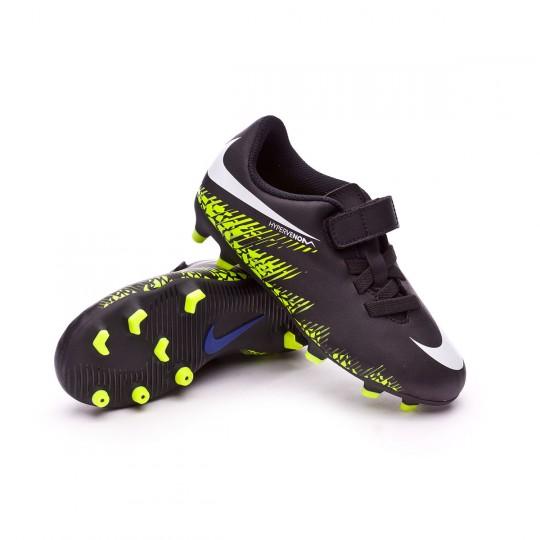 Chaussure  Nike jr Hypervenom Phade II Velcro FG Black-White-Volt-Paramount blue