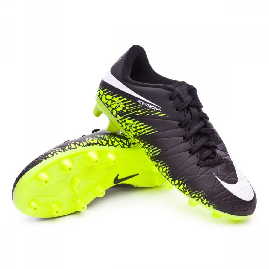 Bota de fútbol Nike Hypervenom Phelon II AG-Pro Niño Black-White ... 6d965ea977b45