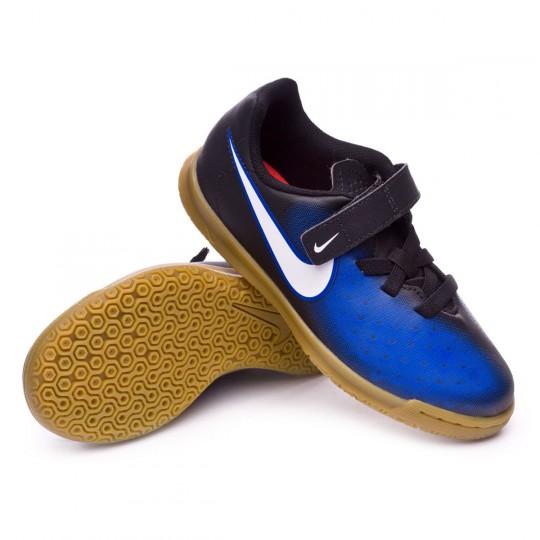 Zapatilla de fútbol sala  Nike jr MagistaX Ola II Velcro IC Black-White-Paramount blue-Hyper orange