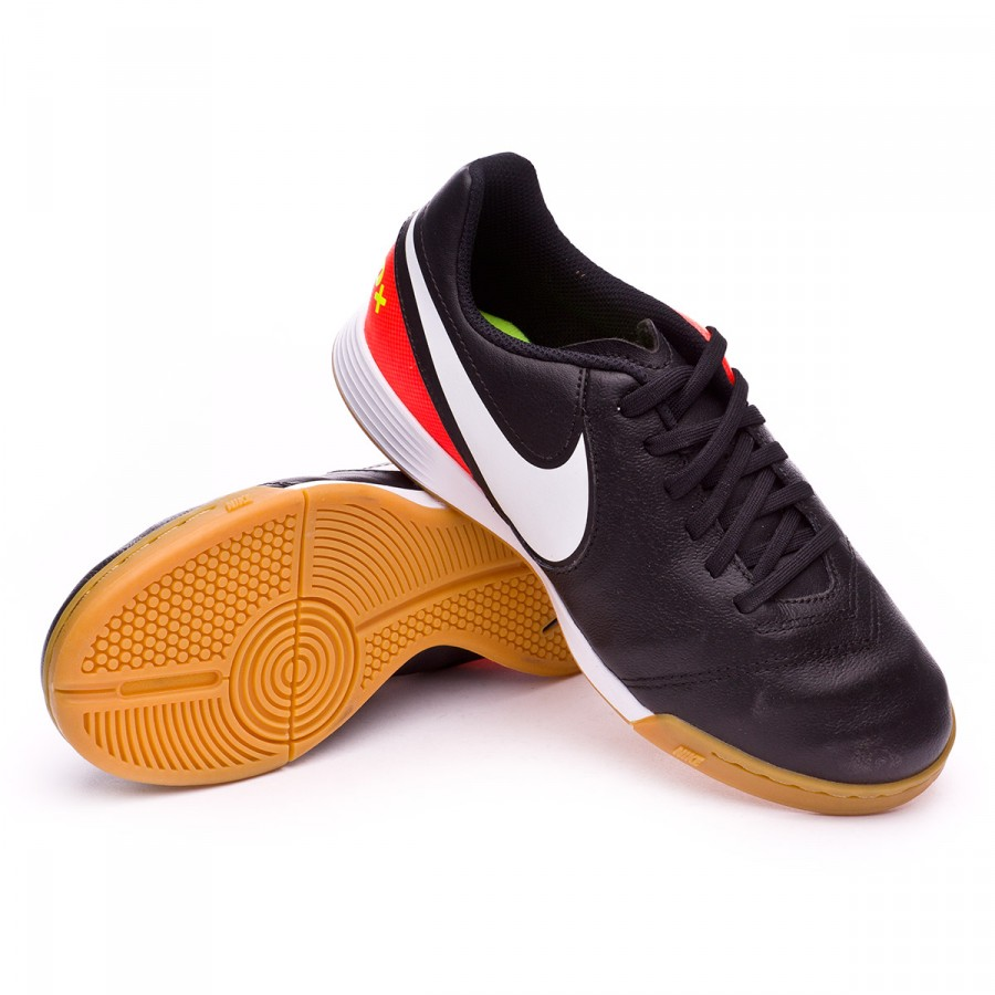 Zapatilla Nike TiempoX Legend VI IC Niño Black-White-Hyper orange ... bafe21497160b